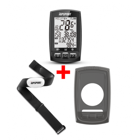 PACK CICLOCOMPUTADOR IGPSPORT GPS iGS50E ANT+ +BANDA FRECUENCIA + FUNDA BH50